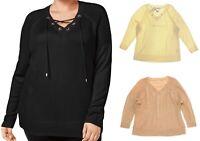 Calvin Klein Women's Plus Size Lace Up Grommet Sweater - Select a size/color