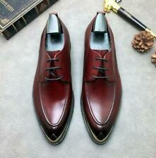 Mens Genuine Leather Wedding Bridegroom Shoes Business Metal Pointy Toe Oxfords