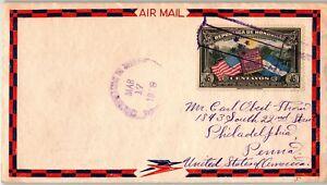 Honduras Postal History: LOT #3 1938 46c Fancy Airmail Envelope to PHILADELPHIA