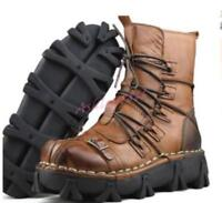 Punk Retor Leather Mens Lace Up Combat Ankle Boots Buckle Motorcycle Shoes Hot