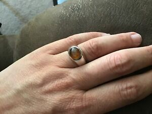 STERLING SOLID SILVER 925 LARGE AMBER RING SIZE P NOT SCRAP HEAVY 10 GRAMS