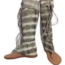 Sunday Saint Tropez Knee High Suede Zip Gladiator Sandals Gray Tie Dye Size 36 6