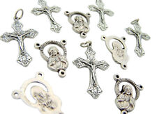 Set of 10 Jesus Sacred Heart Rosary Centerpiece Parts Grape Leafs Cross Crucifix