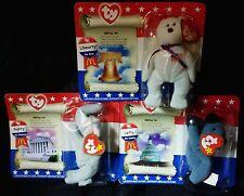 Ty Beanie Babies American Trio Libearty (Bear) Righty (Elephant) Lefty (Donkey)