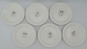 WILLIAMS SONOMA Snowman Dessert Appetizer Plates UNUSED Set of 6
