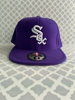 New Era 59Fifty Hat Mens MLB Team Chicago White Sox Deep Purple White Fitted Cap
