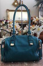 B. Makowsky Turquoise Blue Leather Zip Pockets Satchel Shoulder Bag Purse EUC