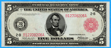$5 1914 United States Five Dollars Federal Reserve Note Red Seal New York - EF