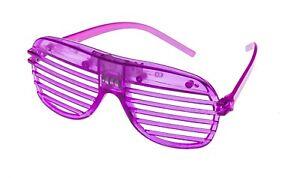 Purple Flashing LED Shutter Glasses Light Up Rave Slotted Party Glow Shades UK