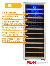 PKM Weinkühlschrank WKS72B Edelstahl LED 72 Flaschen Temperierschrank