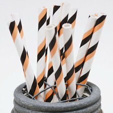 25 Orange and Black Halloween Stripe Paper Straws - Perfect for Parties - Favors