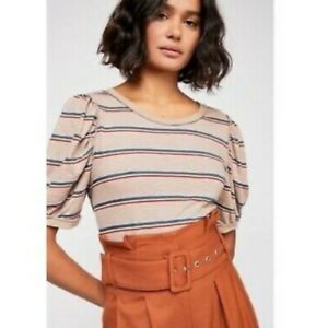 Free People Molly striped cropped inside out puffed sleeve tee t shirt top S