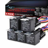 MICTUNING 5PACK 12V 30/40A Automotive Relay Harness Kit SPDT Relay Socket 5PIN