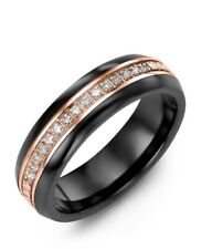 MADANI- 6.5MM Rose Gold With Diamond Men's & Women Eternity Wedding Ring Size 10