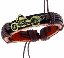Biker Leder Armband Herren Schmuck Motorrad Motiv Vintage Braun Surfer Armband