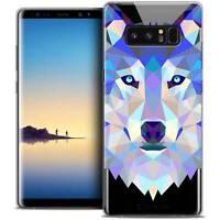 "Coque Housse Etui Samsung Galaxy Note 8 (6.3"") Polygon Animal Souple Fin Loup"