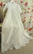Antique christening gown unusual long sleeves cutwork embroidery lace