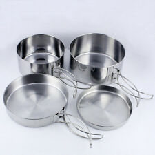 4 Pcs Stainless Steel Camping Backpacking Hiking Picnic Cooking Pan Pot Tool