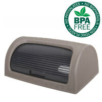 Bread Bin Box Kitchen Food Roll Top Storage Loaf Curved BPA Free Plastic BROWN