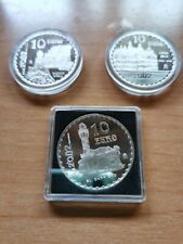 ESPAÑA 2002 3X 10 EURO PLATA PROOF GAUDI