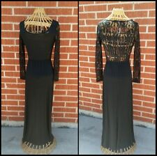 Pre Owned ~Black Lace Top Dress Maxi H&M rk 7 brand size small