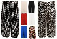 Women's Elasticated 70's Wide Leg Culottes Knee Length Palazzo Plus Sizes 8-30