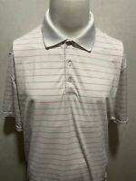 PETER MILLAR Summer Comfort Pink Striped Spandex Stretch Mens Polo Shirt XL