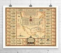 Salt Water Game Fish Antique Map Rolled Canvas Giclee Print 32x24 Inches