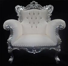 LARGE FRENCH LOUIS STYLE ARM CHAIR SILVER & WHITE FAUX LEATHER CRYSTALS ORNATE