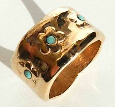 Elegant Red Gold 24K Plated Slide Ring With Flowers & Turquoise Sz 8