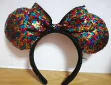 New Disney Parks Minnie Mouse Sequined Bow Ears Headband Kids Gift