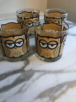 1960s Vintage Owl Barware Bar Glasses Old Fashion Low Ball Mid Century Modern