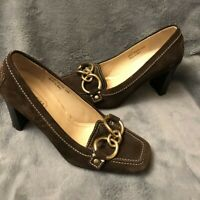 Coach Brown Suede Pump Women Size 6 With Silver Buckle