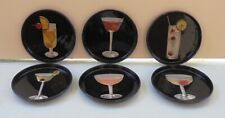 COCKTAIL VTG TIN COASTERS SET OF SIX