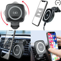 Mobile Phone Holder Qi Car Charger Air Vent Mount Wireless Charging 10W/7.5W/5W