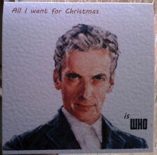 Tarjeta de Navidad hecho a mano Doctor Who 12th doctor Peter Capaldi. 1st clase.