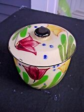"""ANTIQUE HAND PAINTED 3-peace NESTING Pottery Set,LARGE ONE IS 5"""" TALL, PICTURES"""