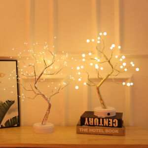 LED Willow Tree Light Branch Twig Copper Wire Garland Table Lamp Home Decoration