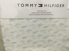 Tommy Hilfiger Jumpin Marlin Fish Easy Care 3pc Twin Sheet Set Grey on White NWT