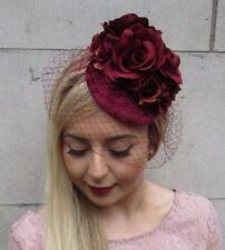 Burgundy Wine Red Rose Birdcage Veil Flower Fascinator Pillbox Hat 1940s 4958