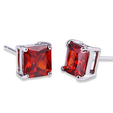 HUCHE Red Sapphire Ruby Garnet Crystal 18K White Gold Filled Lady Studs Earrings