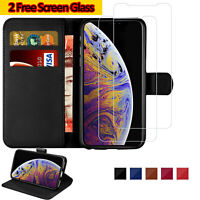 Leather Flip Wallet Case + Tempered Glass Screen Protector For iPhone 11 Pro Max