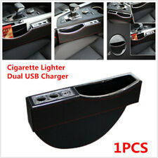 1X Dual USB Cigarette Lighter Car Seat Slit Storage Catcher Box Pocket Organizer