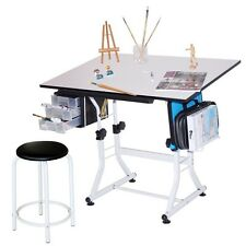 White Hobby Craft Table Desk w/ 3 Drawers & Stool | Drawing Art Homework