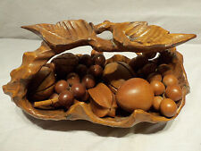 Vintage Home Decor Handmade Hand Crafted WOOD Fruit with Basket Display Piece