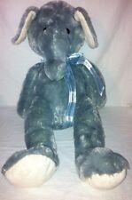 "Baby Plush Elephant Huge Stuffed Toy 22"" Sitting Nursery Rocker Blue Grey 2012"