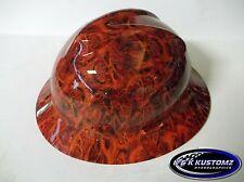 Orange Inferno Pattern Full Brim NEW Custom MSA V GARD Hard Hat