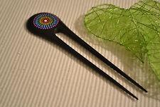 Holz Haarnadel Haargabel  farbig Punkte Haarforke  Steckgabel Hairpin  H 3