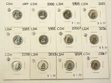 1987 to 2016 Canada 10 Cents Lot of 12 From Sets UNC #5459
