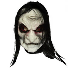 Black Long Hair Latex Mask Halloween Scary Fancy Party Costume Cosplay Dress